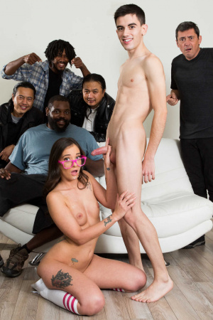 Straight A student Gia Paige interracial gangbang